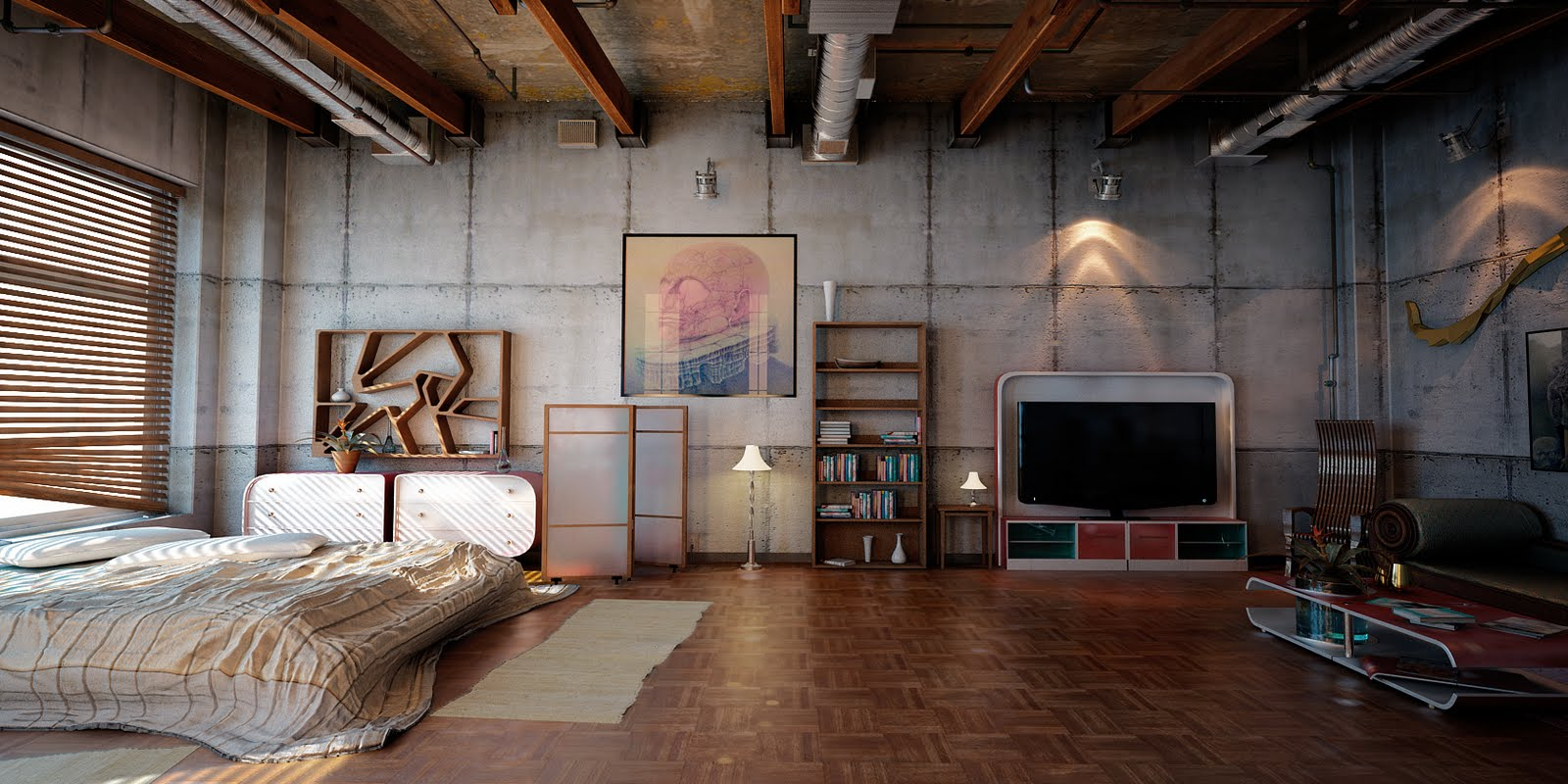 arredare casa in stile industriale camera da letto